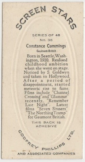 Constance Cummings 1936 Godfrey Phillips Screen Stars Trading Card #36