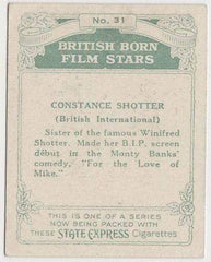 Constance Shotter 1934 ARDATH British Born Film Stars Tobacco Card #31 LARGE