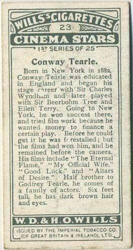 Conway Tearle 1928 Wills Cinema Stars Tobacco Card Series 1 #23