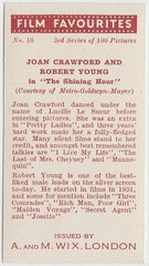 Joan Crawford + Robert Young 1939 A & M Wix Film Favourites Trading Card #16