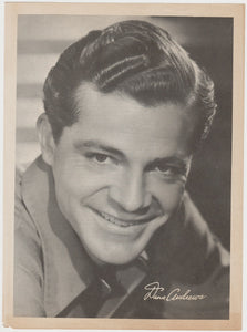 Dana Andrews 1940s Paper Stock Trading Card - Film Frame Design