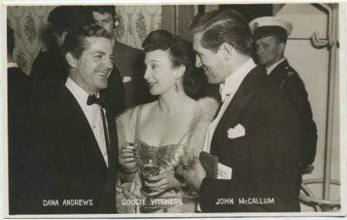 DANA ANDREWS Googie Withers JOHN McCALLUM 1940s 1950s Postcard - Movie Star RPPC
