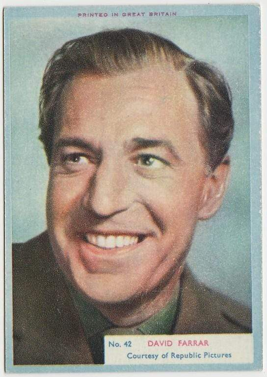 David Farrar 1956 A&BC Film Stars Trading Card #42