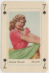 Denise Darcel Vintage 1950s Maple Leaf Playing Card of Film Star