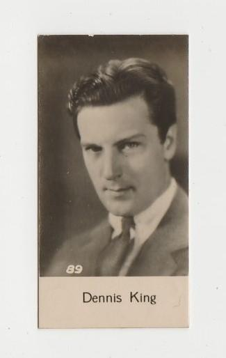 Dennis King 1930s Trading Card #89 Film Star Biscuit Card Mystery Issue