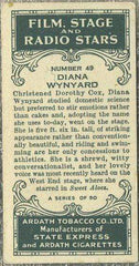 Diana Wynyard 1935 Ardath Film Stage and Radio Stars Tobacco Card #49