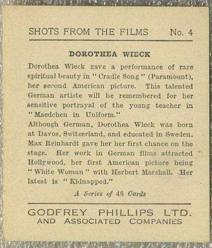 Dorothea Wieck 1934 Godfrey Phillips Tobacco Card - Shots from the Films #4