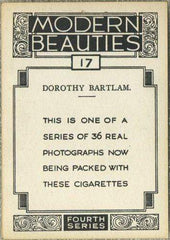 Dorothy Bartlam 1937 BAT Modern Beauties XL Tobacco Card Series 4 #17