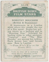 Dorothy Bouchier 1934 ARDATH British Born Film Stars Tobacco Card #29 LARGE