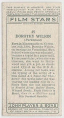 Dorothy Wilson 1934 John Player Film Stars Tobacco Card 2nd Series #49