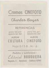 Charles Boyer 1930s Editorial Bruguera Cinefoto Paper Stock Trading Card #6
