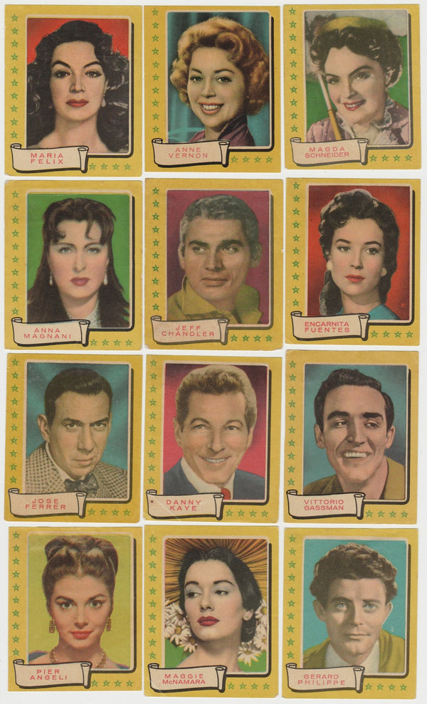 Lot of 29 - 1958 Bruguera Famous Screen Stars PAPER STOCK Trading Cards