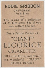 Eddie Gribbon 1932 Australian Giant Licorice Film Stars Trading Card