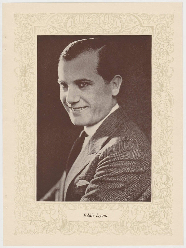 Eddie Lyons 1923 MPDA Popular Film Folk 8 X 10.75 Printed Photo of Film Star