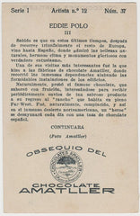 Eddie Polo 1920s Chocolate Amatller Trading Card from Spain #I-12-37