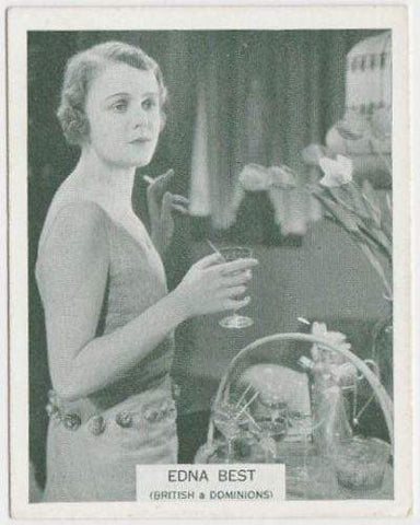 Edna Best 1934 ARDATH British Born Film Stars Tobacco Card #8 LARGE