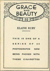 Elaine Ruby 1938 BAT Grace and Beauty Tobacco Card #32