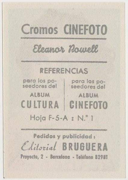 Eleanor Powell 1930s Editorial Bruguera Cinefoto Paper Stock Trading Card #1