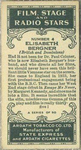 Elisabeth Bergner 1935 Ardath Film Stage and Radio Stars Tobacco Card #4