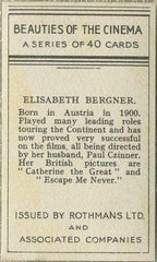 Elisabeth Bergner 1939 Rothmans Beauties of the Cinema Movie Star Tobacco Card