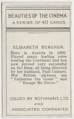 Elisabeth Bergner 1939 Rothmans Beauties of the Cinema Movie Star Trading Card