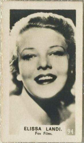 Elissa Landi 1934 Bridgewater Film Stars Small Trading Card - Series 3 #94