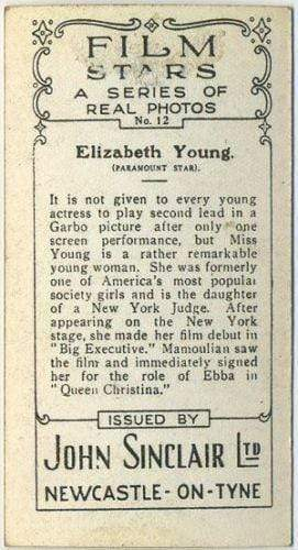 Elizabeth Young 1937 John Sinclair Film Stars Tobacco Card #12