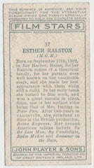 Esther Ralston 1934 John Player Film Stars Tobacco Card 2nd Series #37
