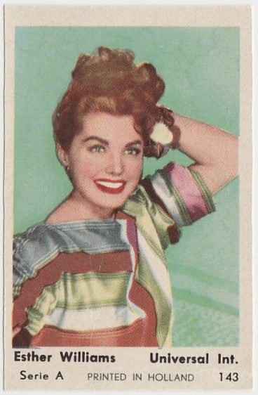 Esther Williams 1960s Film Star PAPER STOCK Dutch Gum Trading Card #143
