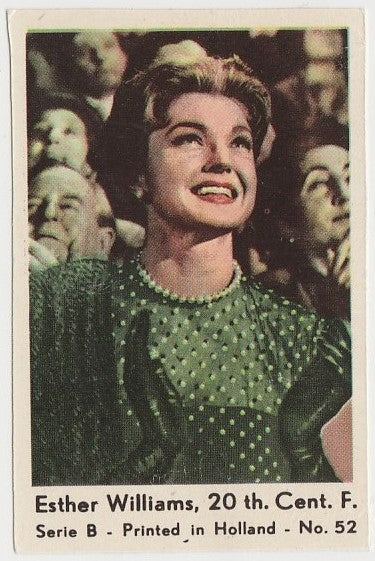 Esther Williams 1950s Film Star PAPER STOCK Dutch Gum Trading Card #52