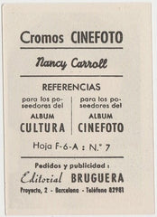 Nancy Carroll 1930s Editorial Bruguera Cinefoto Paper Stock Trading Card #7