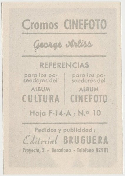 George Arliss 1930s Editorial Bruguera Cinefoto Paper Stock Trading Card #1