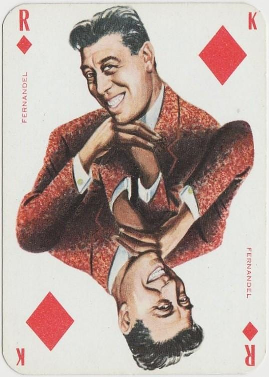 Fernandel 1950s Singer and Film Star on Blue Stallion Back Playing Card