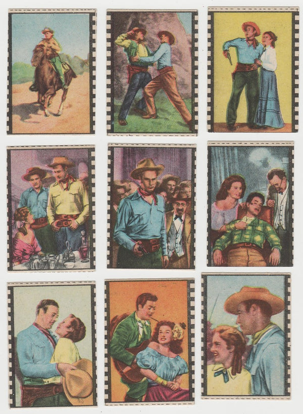 Lot of 9 CODE OF THE WEST 1940s Paper Stock Film Frame TRADING CARDS