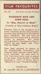 Florence Rice + John Beal 1939 A & M Wix Film Favourites Tobacco Card #90