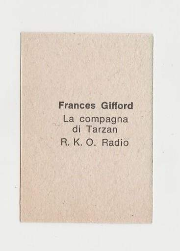 Frances Gifford 1940s Paper Stock Trading Card - Film Frame Design