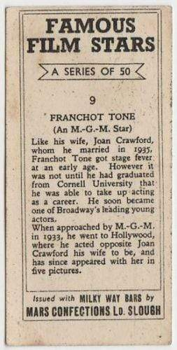Franchot Tone 1939 Mars Confections Famous Film Stars Trading Card #9
