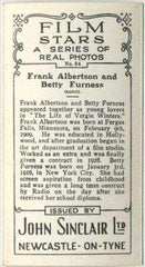 Frank Albertson + Betty Furness 1937 John Sinclair Film Stars Tobacco Card #84