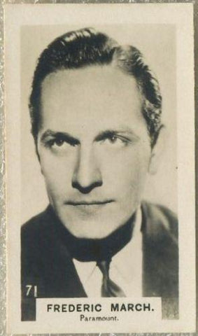 Fredric March 1934 Bridgewater Film Stars Small Trading Card - Series 3 #71