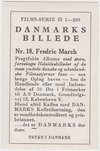 FREDRIC MARCH Vintage 1936 DANMARKS Film Star Trading Card #18