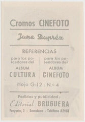 June Duprez 1930s Editorial Bruguera Cinefoto Paper Stock Trading Card #4
