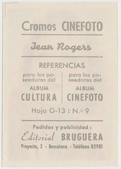 Jean Rogers 1930s Editorial Bruguera Cinefoto Paper Stock Trading Card #9
