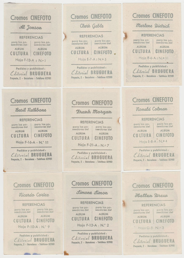 14 Damaged 1930s Editorial Bruguera PAPER STOCK Trading Cards