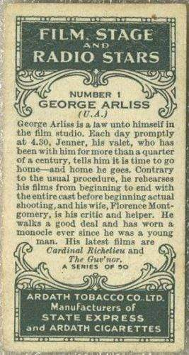 George Arliss 1935 Ardath Film Stage and Radio Stars Tobacco Card #1
