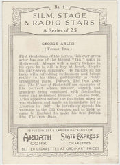 George Arliss 1935 Ardath Film, Stage & Radio Stars XL Trading Card #1