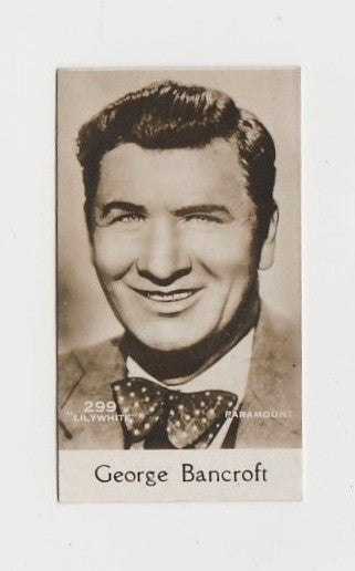 George Bancroft 1930 De Beukelaer Film Stars Small Trading Card #299