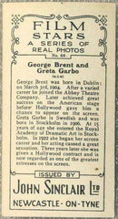 George Brent + Greta Garbo 1937 John Sinclair Film Stars Tobacco Card #66