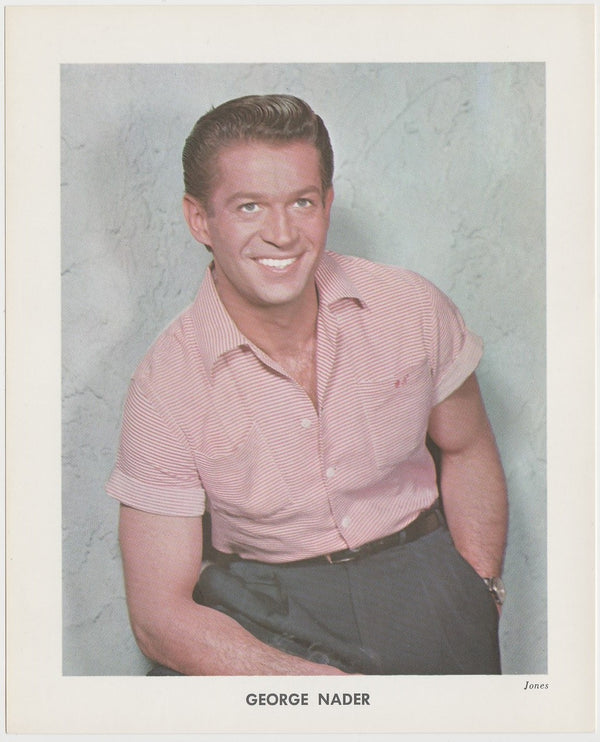 George Nader 1950s Vintage Color Printed Photo on Paper by Jones 5-5/8 x 7