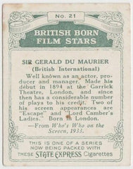 Gerald Du Maurier 1934 ARDATH British Born Film Stars Tobacco Card #21 LARGE