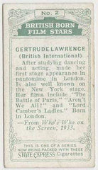 Gertrude Lawrence 1934 Ardath British Born Film Stars Tobacco Card #2